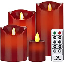 "Flameless Candles Red Battery Operated Candles with Remote Timer Set of 4(H4""5""6""x D 3"")Flickering Candles by Comenzar(Batteries not included)"