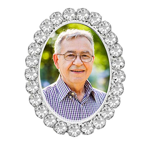 Silver Pin Rhinestone Oval Wedding Bouquet Photo Charm Brooch for Pinning on Your Flowers w/EZ Photo Jewelry Resizer Software
