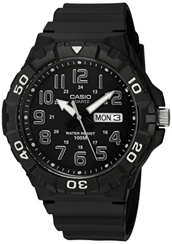 Casio Men's 'Diver Style' Quartz Resin Casual Watch, Color Black (Model: MRW-210H-1AVCF) - Mens Quartz Black Resin