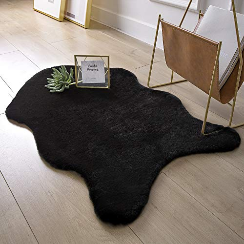 Ashler Soft Faux Rabbit Fur Chair Couch Cover Area Rug for Bedroom Floor Sofa Living Room Black 2 x 3 Feet (Area Sofas)