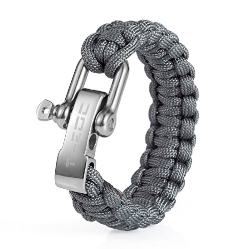 TI-EDC Paracord Survival Bracelet with Adjustable Stainless Steel Shackle for Outdoor, Size Fit for 7 to 8 Inch Wrists