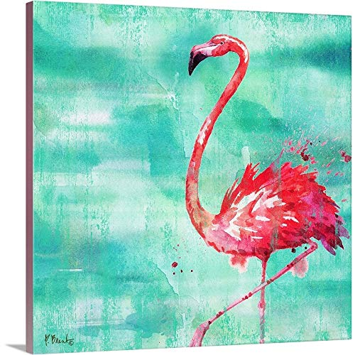 Gallery-Wrapped Canvas Entitled Arianna Flamingo II - Turquoise by Paul Brent 16