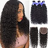 8A Unprocessed Virgin Human Hair Brazilian Water Wave Bundles With Closure Free Part Wet and Wavy...