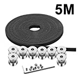 GT2 Timing Belt, 8pcs 5mm 20 Teeth Timing Pulley Wheel + GT2 5 Meters Rubber 2mm Pitch 6mm Wide Timing Belt + Allen Wrench for 3D Printer CNC by MYSWEETY