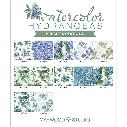 Watercolor Hydrangeas 10-inch Precut Squares Cotton Fabric Quilting Assortment Maywood Studio