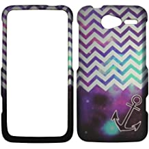 2D Purple Anchor Chevron Motorola Electrify M XT901 U,s Cellular Case Cover Hard Phone Case Snap-on Cover Protector Rubberized Touch Faceplates