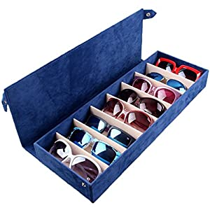 8 Pieces Sunglass Eyewear Display Storage Case Tray Organizer for Glasses, Jewellery and Watches Display wiht High-grade Flannel (Blus)
