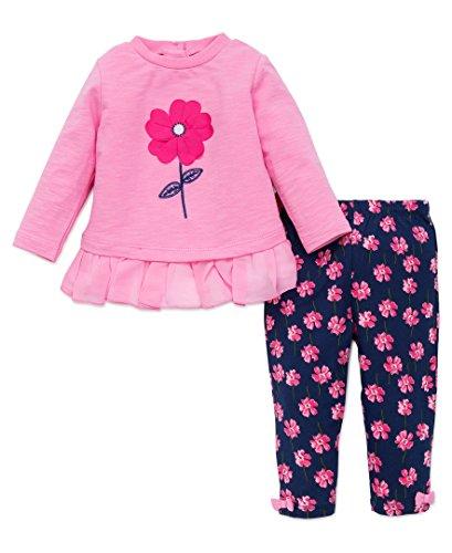 Little Me Girls 2 Piece Long Sleeve Knit Fashion Legging Set, Pink Floral, 24 Months 2 Piece Knit Outfit