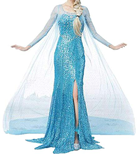 Womon Halloween Cosplay Frozen Elsa Princess Costume Stage Costume Blue/L -