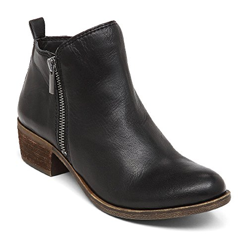 Blivener Women's Ankle Boots Faux Leather Suede Western Round Toe Bootie Stacked Heel Black EU39 by Blivener