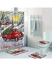NEWSUYAA 4PCS Christmas Bathroom Decorations Sets Shower Curtain Toilet Seat Cover Rugs Sets Xmas Santa Claus Pine Tree Snowman Gnome Bathtub Decor