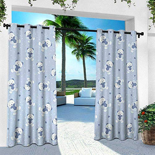 Boys, Fashions Drape,Teddy Bears on Blue Backdrop Holding Hearts Baby Shower Theme Toddler, W96 x L96 Inch, Baby Blue Cadet Blue White