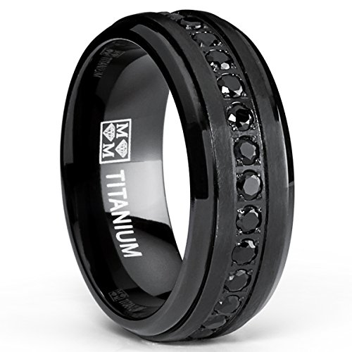 Titanium Wedding Band Ring with Black Cubic Zirconia CZ, Size 8.5 (Textured Comfort Fit Wedding Band)