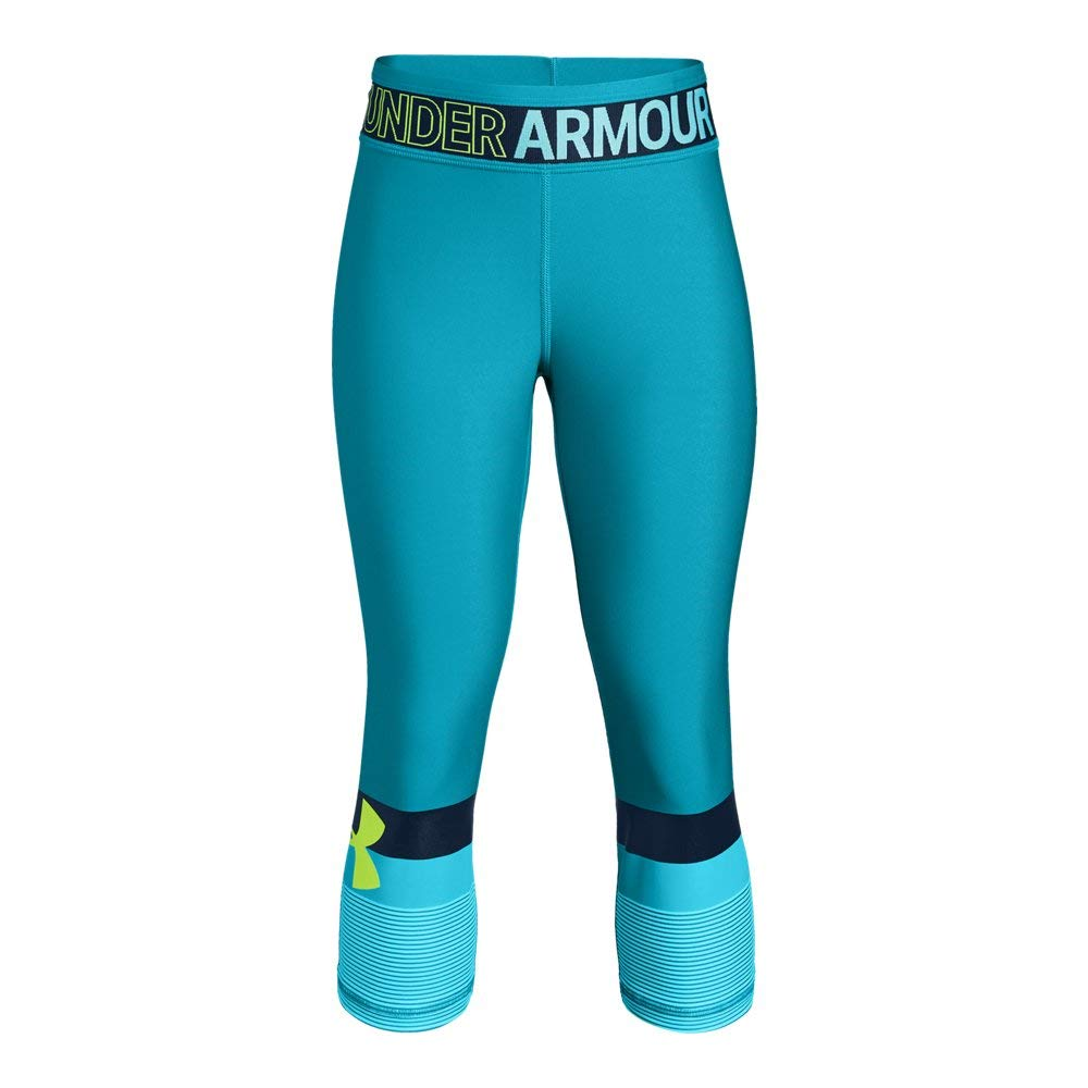 Under Armour Girls Heatgear Armour Graphic Capri, Deceit, Youth X-Large by Under Armour