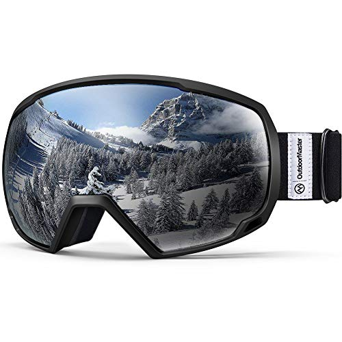 OutdoorMaster OTG Ski Goggles - Over Glasses Ski / Snowboard Goggles for Men, Women & Youth - 100% UV Protection (White Frame + VLT 45% Purple Lens with Full REVO Red)