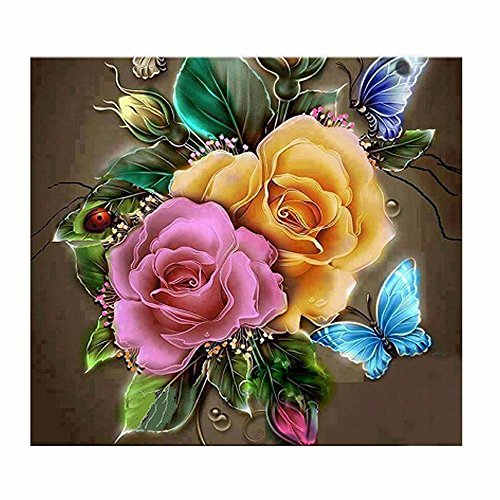 Crewel Embroidered Flowers (DEESEE(TM) DIY Diamond 5D Embroidery Paintings Rhinestone Pasted diy Christmas painting Cross Stitch (H(3030CM)))