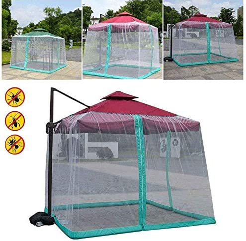 日傘用の蚊帳、屋外の庭の傘のテーブル画面のテラスの傘蚊帳の屋外庭の傘のテーブル画面、ジッパーの両開きドア、テラス用の特大の正方形の蚊