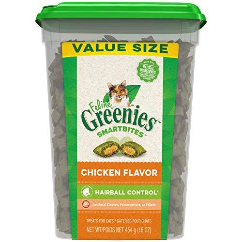 Greenies Feline SMARTBITES Hairball Control Natural Treats for Cats, Chicken Flavor, 16 oz. Tub