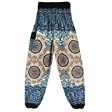 Hunzed Women Yoga Pants, { Thai Harem Yoga Trousers } { Boho Festival Yoga Leggings } Casual { Hippy Smock Yoga Jumpsuit Harem Pants } For Ladies (White)