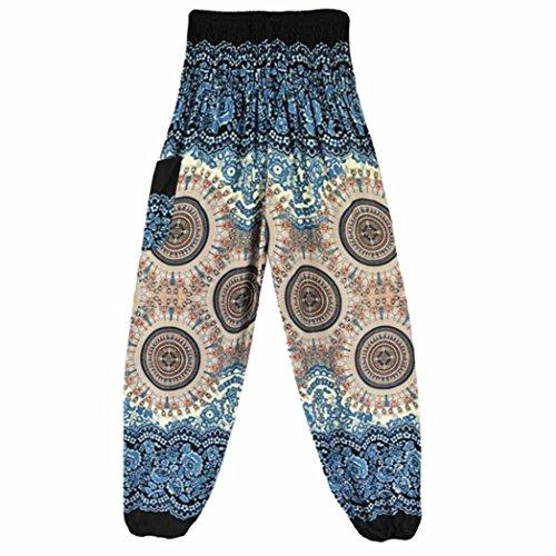 Hunzed Women Yoga Pants, { Thai Harem Yoga Trousers } { Boho Festival Yoga Leggings } Casual { Hippy Smock Yoga Jumpsuit Harem Pants } For Ladies (White) by Hunzed
