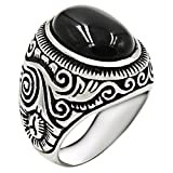 Jude Jewelers Retro Vintage Stainless Steel Turquoise Onyx Ring (Black, 9)