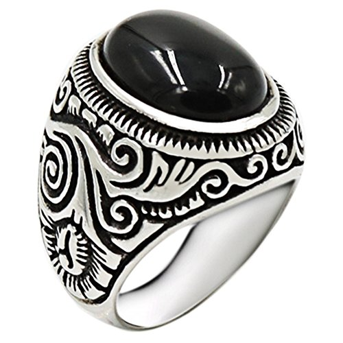 Jude Jewelers Retro Vintage Stainless Steel Turquoise Onyx Ring (Black, 11) (Stainless Steel Tension Ring)