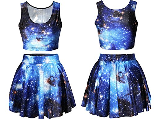 Shmily_B Women's Galaxy Digital Print Reversible Crop Tank Top+Pleated Skater Skirts Set (Blue galaxy) (Print Reversible Skirt)