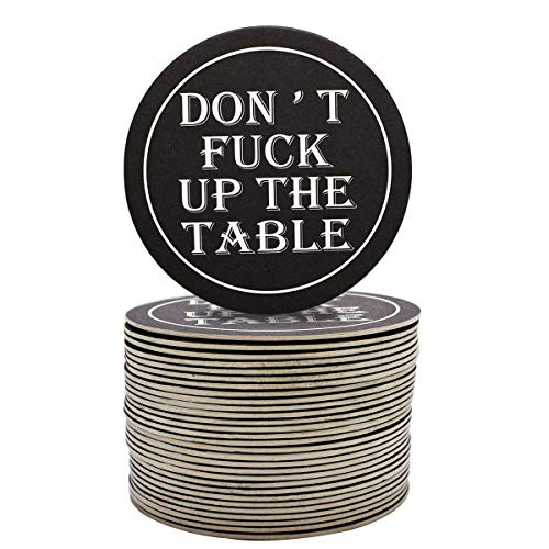 Funny Drink Coaster Absorbent Coaster for Drink and Beer to Keep Table Clean Bulk Pack for Bar and Party - 30 Pack Round