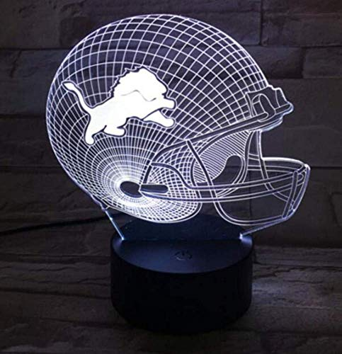 - QiXian Night Light Wall Lamp Led Lamp USB Desktop Table Lamp 3D Light Led Detroit Lion Football Cap Helmet 7 Color Touch Switch Light for Kitchen Bedroom Living Room