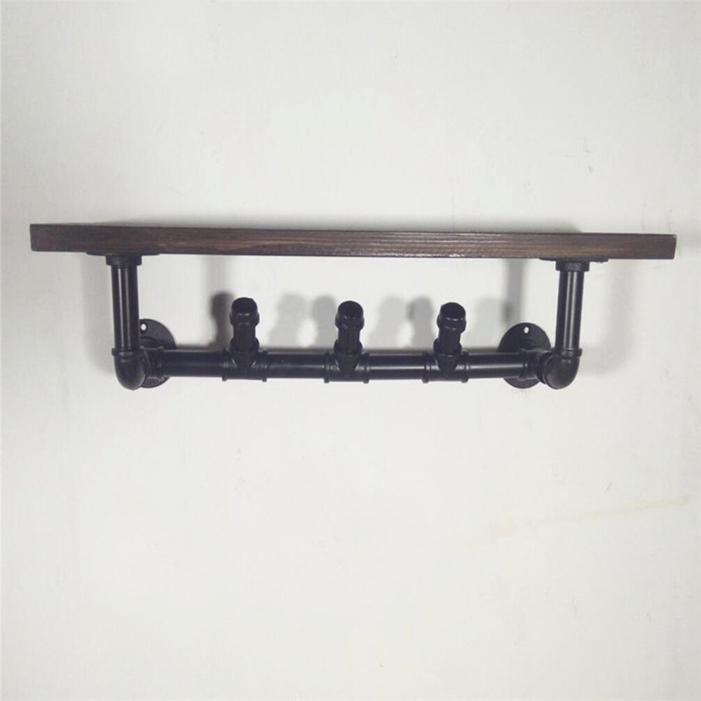 Home Coat Hanger / American Vintage Hanger / Used Wrought Iron Pipes / Shelf / Wall-mounted Shelf / Wall Solid Wood Shelf Shelves / Wall Hanger / (60 20 16cm) by Hangers