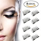 Beauty : Magnetic False Eyelashes FOR OUTER EDGED - 3D Fiber Reusable Lashes Extension - 2 Pairs (8 Pieces) Perfect for Deep Set Eyes & Round Eyes (8PCS-1)