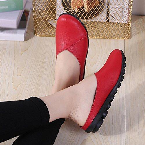 Zapato Plano De Cuero Sin Cordones Para Mujer Sikye, Zapatos Con Fondo Suave De Color Puro Zapatos Sin Mangas De Barco Planos Con Punta Redonda En Rojo