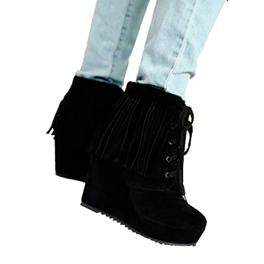8fb91cffcbce6 Outtop(TM) Women's Tassel Lace-up Wedges Fringe High Heel Short Booties  Shoes