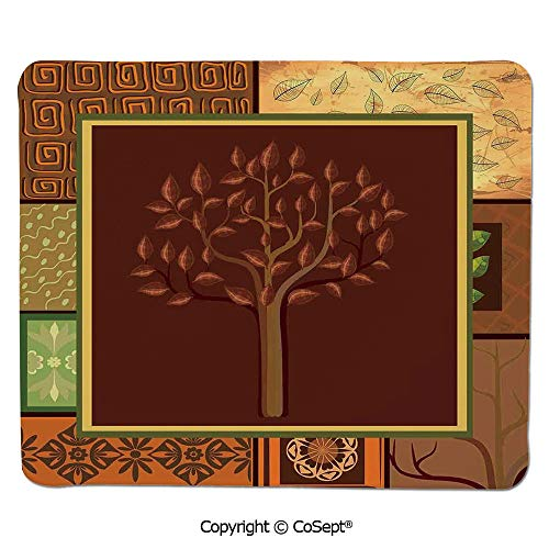 Ergonomic Mouse pad,Tree Figure on African Tribal Motifs Leaf Floral Ornaments Native Folk Patterns,for Computer,Laptop,Home,Office & Travel(7.87