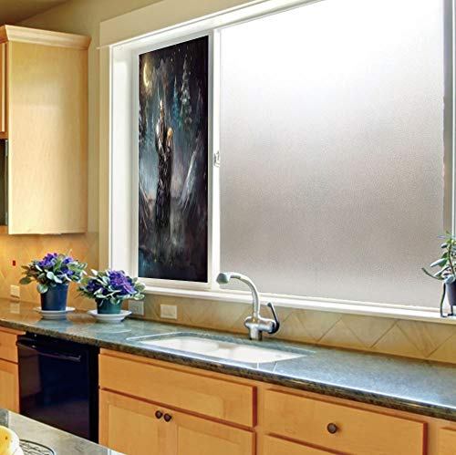 YOLIYANA Vinyl Non Adhesive Privacy Film,Fantasy,for Any Places: Kitchen, Bedroom,Medival Dwarf Knight in Gothic Shield at ()