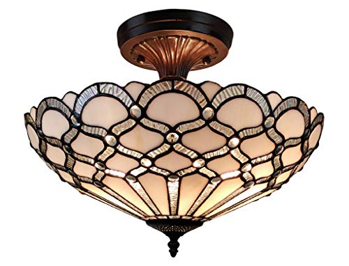 Amora Lighting Tiffany Style Ceiling Fixture Lamp Jeweled 17