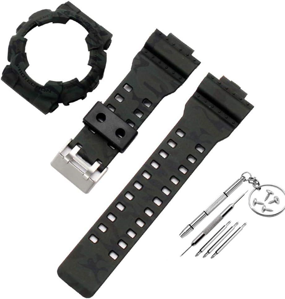 BASSK 1 Unidades Antideslizante Correa de Reloj de Silicona Suave Correa de muñeca Funda de Reloj para Casio G-Shock GA-110 GA100 GD-120 Accesorios