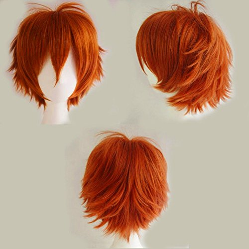 S-noilite Unisex Cosplay Short Straight Hair Wig Women Mens Anime Comic Party Costume Wigs Dark Orange -