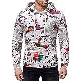 Men's Christmas Tops Casual Autumn Winter Hoodies 3D Xmas Elk Printing Long Sleeve Sweatshirt (Multicolor,M)