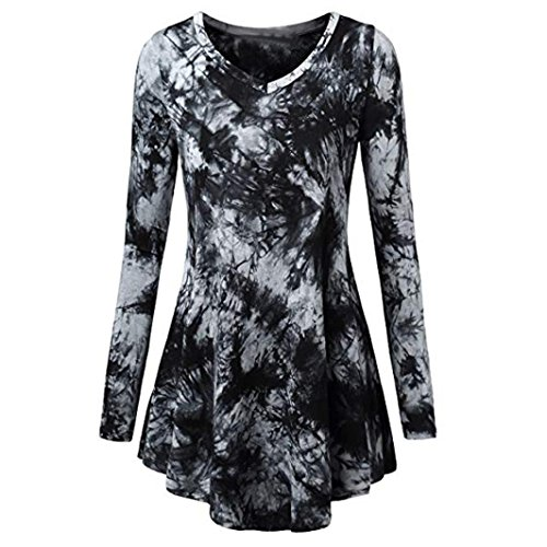 Toimoth Women Scoop Neck Pleated Long Sleeves Plus Size Blouse Top Tunic Shirt(Black,L)