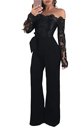 39c10c40ee9 FEIYOUNG Women  Sexy Off Shoulder Wide Leggings Striped Jumpsuit High Waist  Jumpsuit Rompers (Small