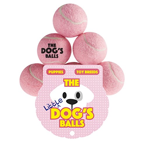 The Little Dog's Balls - 6 Small Baby Pink Tennis Balls for Dogs, Premium Mini Dog Toy for Puppies & Small Dogs, Puppy Exercise, Play, Training & Fetch. No Squeaker, the King Kong of Little Dog