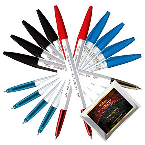 Reynolds 045 Pen Fine Carbure Blue Black Red Color Bundle with TeaLegacy Free Sampler (10 Ball Point Pens) Non Smudge Fine Writing Experience for Home, Office, School, College Exams