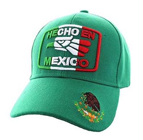 Hecho En Mexico Golden Eagle National Colors Hat - Choose Camo, Black Green - 100% Cotton Embroidered Cap (Green) -