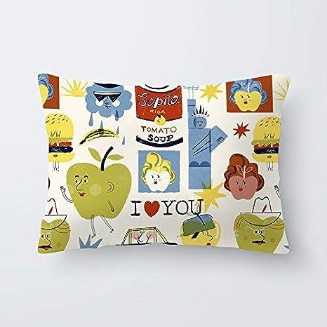 Funda de almohada cojin 30x50 cm algodón cuna bebe dormitorio infantil descanso Fabricada en España Varios diseños (Big Apples)