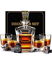 Premium Glass Decanter Set, Whiskey Decanter Set 4 Liquor Glasses, Mens Gift 9 Cooling Whisky Stones and Funnel for Rum, Scotch, Bourbon, Whisky, Crystal Clear Liquor Decanter Drinking Set