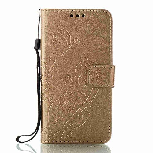Funda Samsung Galaxy A5 2017, 5.2 pulgadas, Cáscara Samsung Galaxy A5 2017, Alfort Casco de Protección Relieve Carcasa PU Carcasa del teléfono con una función de Soporte y la Cartera La alta calidad d Oro