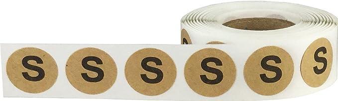 500 Etiquetas en un Rollo 19 mm 3//4 Pulgada Redonda Kraft Marron Circulo Extra Pequeno XS Talla de Ropa Pegatinas