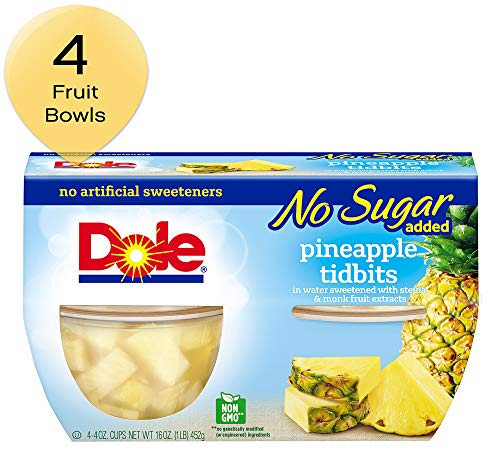 DOLE FRUIT BOWLS Pineapple Tidbits in Water No Sugar Added 4 Cups