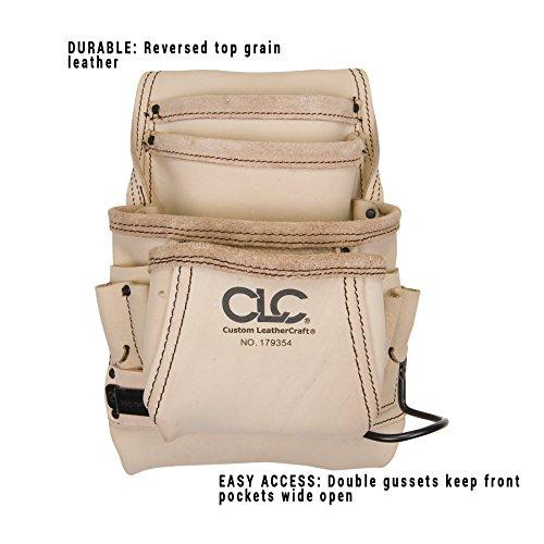 Review CLC Custom Leathercraft 179354 Carpenter's Nail and Tool Bag Reversed Top Grain, 10-Pocket